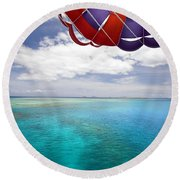 Parasail Over Fiji Round Beach Towel