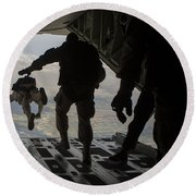 Paratroopers Jump Out Of A Kc-130j Round Beach Towel