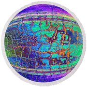 Parched Earth Abstract Round Beach Towel