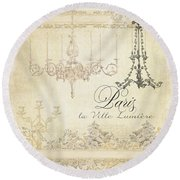 Parchment Paris - City Of Light Chandelier Candelabra Chalk Round Beach Towel