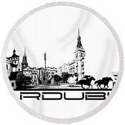 Pardubice Skyline City Black Round Beach Towel