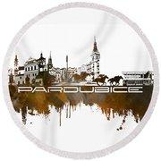 Pardubice Skyline City Brown Round Beach Towel