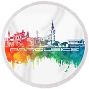 Pardubice Skyline City Color Round Beach Towel