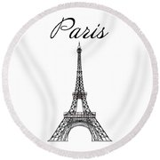 Paris And The Eiffel Tower - Black Round Beach Towel