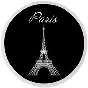Paris And The Eiffel Tower - White Round Beach Towel