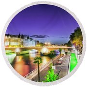 Paris At Night 16 Art Round Beach Towel