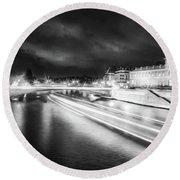 Paris At Night 19 Bw Art  Round Beach Towel