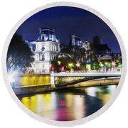 Paris At Night 22 Round Beach Towel