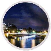 Paris At Night 23 Round Beach Towel