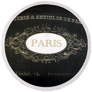 Paris Black And White Gold Typography Home Decor - French Script Paris Wall Art Home Decor Round Beach Towel