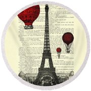 Paris, City Of Love Round Beach Towel