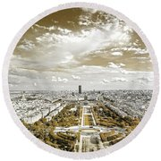 Paris City View 20 Sepia Round Beach Towel