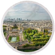 Paris City View 27 Round Beach Towel