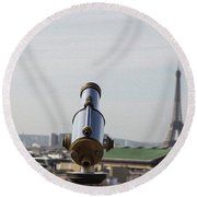 Paris City View 28 Round Beach Towel