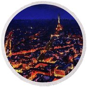 Paris City View Round Beach Towel