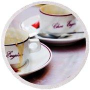 Paris Coffee Cups Round Beach Towel