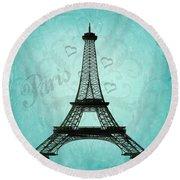Paris Collage Round Beach Towel