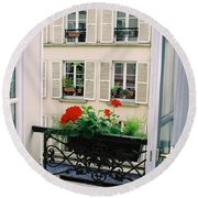 Paris Day Windowbox Round Beach Towel