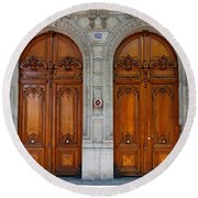 Paris Doors Round Beach Towel