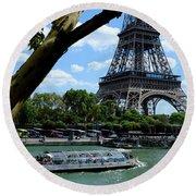 Paris Eiffel Boat Round Beach Towel