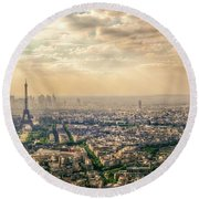 Paris Eiffel Skyline And Cityscape Aerial View At Sunset From Montparnasse Tower Observation Deck  Round Beach Towel