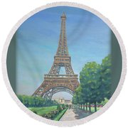 Paris Eiffel Tower Round Beach Towel