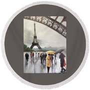 Paris Fog Round Beach Towel