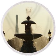 Paris Fountain In Sepia Round Beach Towel