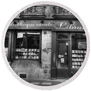 Paris France Book Store Library Black And White Round Beach Towel