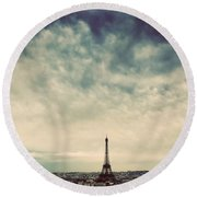 Paris, France Skyline With Eiffel Tower. Dark Clouds, Vintage Round Beach Towel