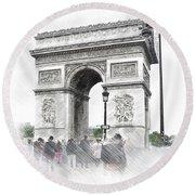 Paris, France  Triumphal Arch  Illustration Round Beach Towel