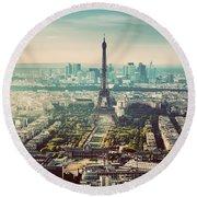 Paris, France Vintage Skyline, Panorama. Eiffel Tower, Champ De Mars Round Beach Towel