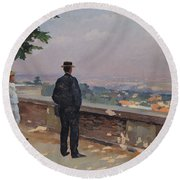 Paris From The Observatory At Meudon Round Beach Towel by Jules Ernest Renoux