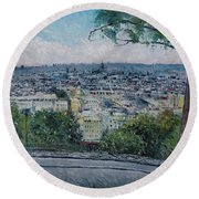 Paris From The Sacre Coeur Montmartre France 2016 Round Beach Towel
