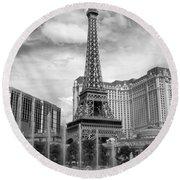 Paris Hotel - Las Vegas B-w Round Beach Towel