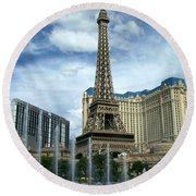 Paris Hotel And Bellagio Fountains Round Beach Towel