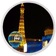 Paris Hotel At Night Round Beach Towel