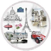 Paris Landmarks. Illustration In Draw, Sketch Style.  Round Beach Towel
