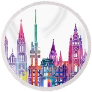 Amsterdam Landmarks Watercolor Poster Round Beach Towel