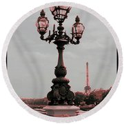 Paris Luminaires And Eiffel Tower Round Beach Towel
