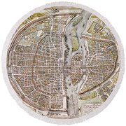 Paris Map, 1581 Round Beach Towel