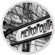 Paris Metro Sign Bw Round Beach Towel
