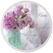 Paris Peonies - Parisian Pink Peonies Pink Aqua French Decor - Paris Floral Wall Art Home Decor  Round Beach Towel