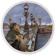 Paris-pont Alexandre IIi Round Beach Towel by Guido Borelli
