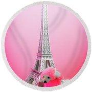 Paris Poodle Round Beach Towel