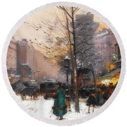 Paris, Porte Saint Denis In Winter Round Beach Towel
