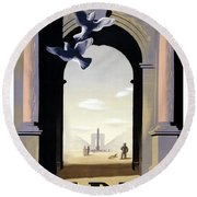Paris Poster Round Beach Towel