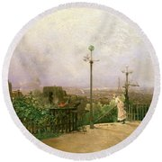 Paris Seen From The Heights Of Montmartre Round Beach Towel by Jean dAlheim
