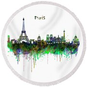 Paris Skyline Watercolor Round Beach Towel