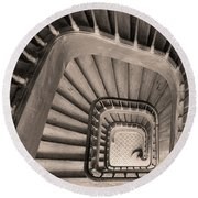 Paris Staircase - Sepia Round Beach Towel